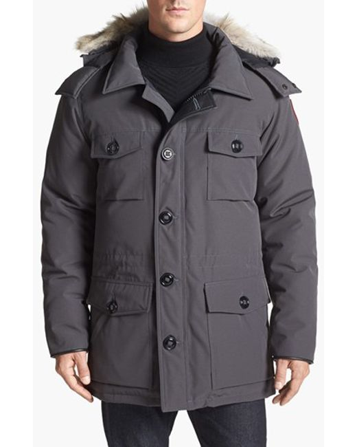 Canada Goose | Gray 'banff' Slim Fit Parka With Genuine Coyote Fur Trim for Men | Lyst