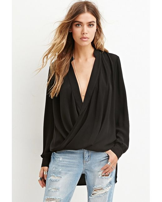 Forever 21 | Black Drapey Surplice Top You've Been Added To The Waitlist | Lyst