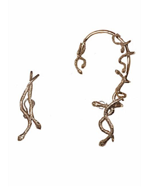 Bernard Delettrez | Metallic Snakes Bronze Mismatched Earcuff And Earring | Lyst