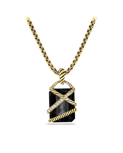 David Yurman | Cable Wrap Pendant With Black Onyx And Diamonds In 18k Gold | Lyst