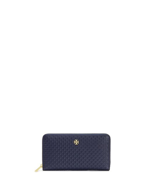 Tory Burch   Blue Marion Diamond-Embossed Leather Wallet   Lyst