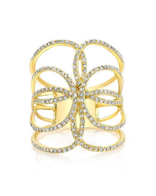 Anne Sisteron - Metallic 14kt Yellow Gold Diamond Butterfly Ring - Lyst