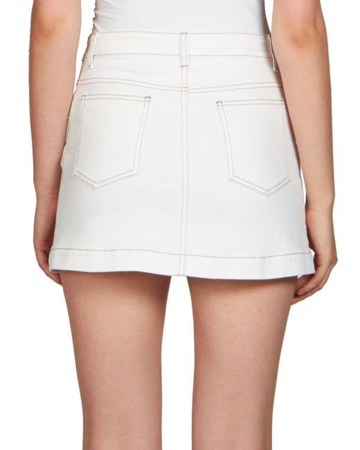 rykiel button front stretch denim skirt in white lyst