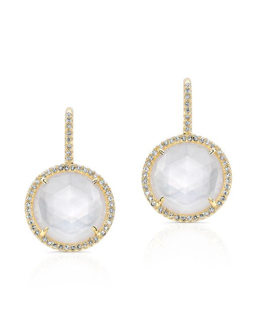Anne Sisteron - Metallic 14kt Yellow Gold Mother Of Pearl Diamond Lune Earrings - Lyst