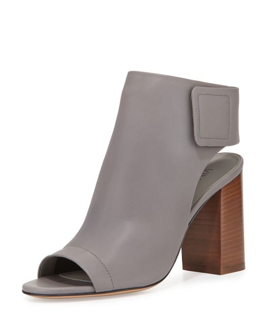 VINCE | Brown Faye Open-toe Leather Bootie | Lyst