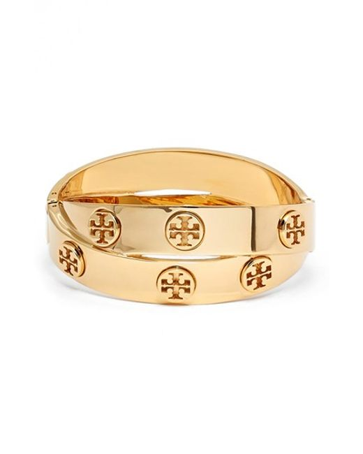 Tory Burch | Metallic Logo Faux Wrap Bracelet | Lyst