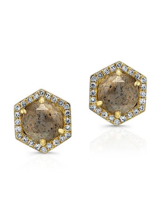 Anne Sisteron | Metallic 14kt Yellow Gold Diamond Labradorite Hexagon Shape Stud Earrings | Lyst
