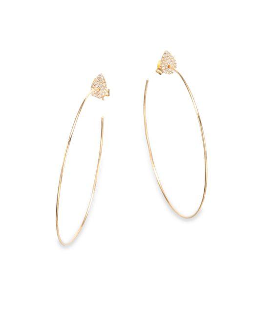 Diane Kordas   Metallic Diamond & 18k Yellow Gold Teardrop Hoop Earrings/2.25   Lyst