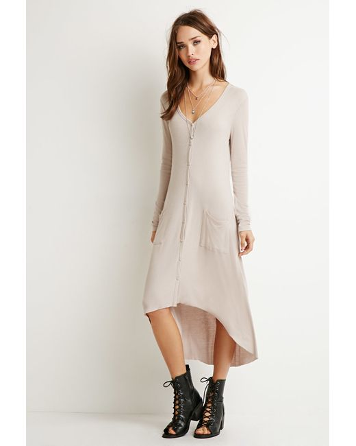Forever 21 | Natural Longline Ribbed Cardigan | Lyst