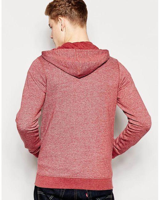 jack jones zip up hoodie in purple for men burgundy. Black Bedroom Furniture Sets. Home Design Ideas