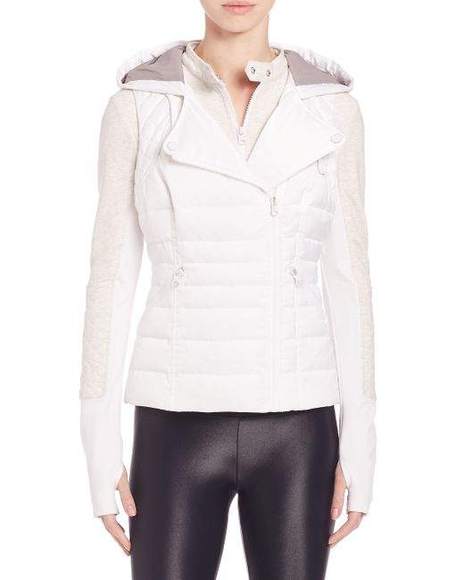 Blanc And Noir 3 In 1 Packable Satin Moto Jacket In White