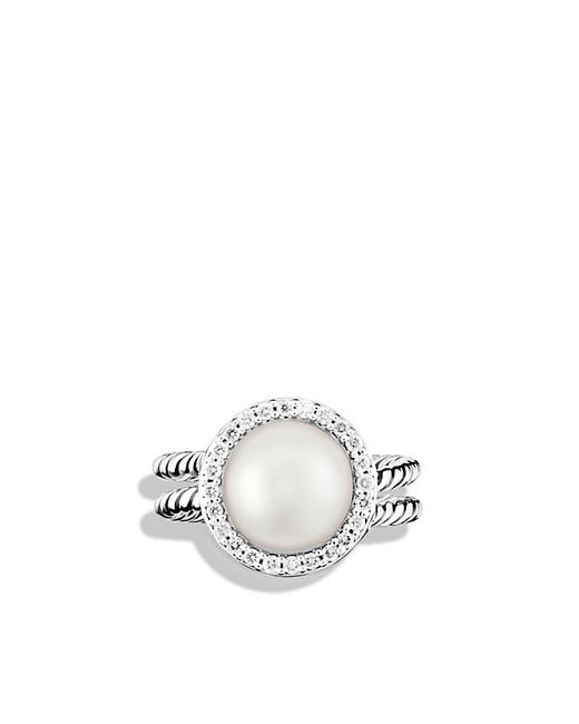 david yurman cable pearl ring with diamonds in white lyst