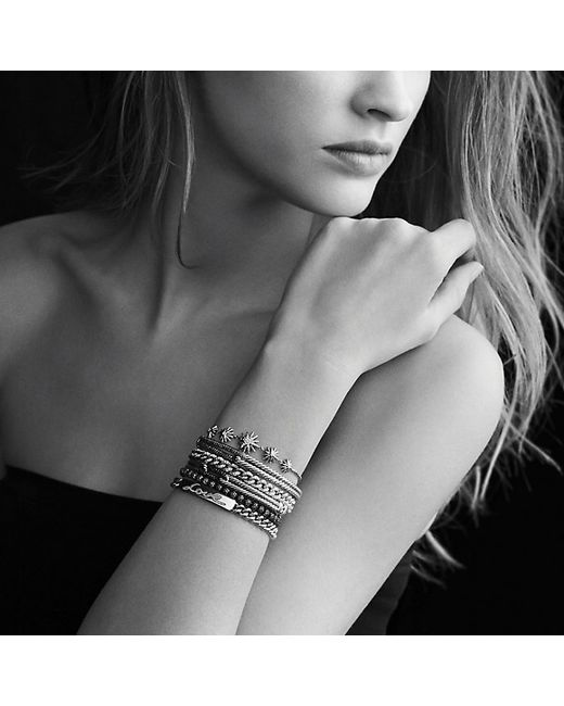 David Yurman | Metallic Petite Pavé Curb Link Love Id Bracelet With Diamonds, 7mm | Lyst