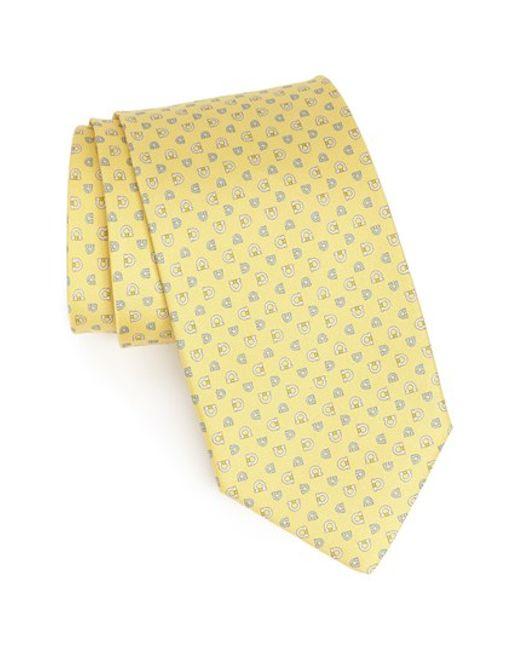 Ferragamo   Yellow Gancini Print Silk Tie for Men   Lyst