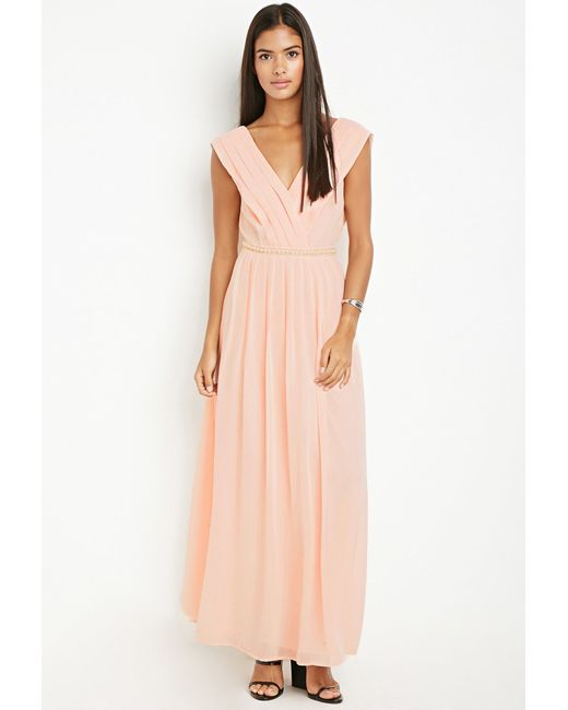 Forever 21   Orange Bejeweled Waist Maxi Dress   Lyst