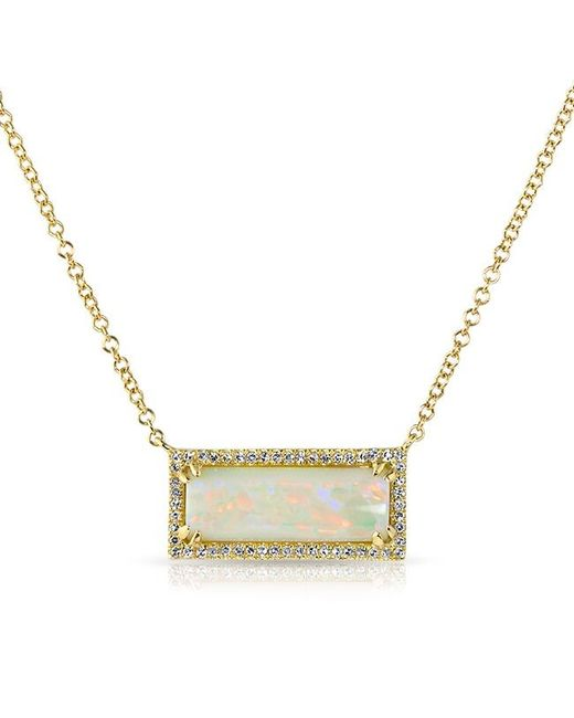 Anne Sisteron | Metallic 14kt Yellow Gold White Opal Diamond Block Necklace | Lyst