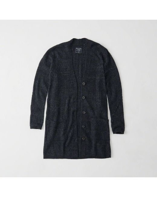 Abercrombie & fitch Ribbed Duster Cardigan in Blue for Men | Lyst