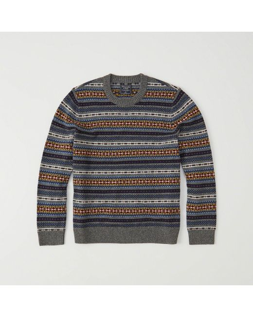 Abercrombie & fitch Fair Isle Sweater in Gray for Men - Save 42 ...