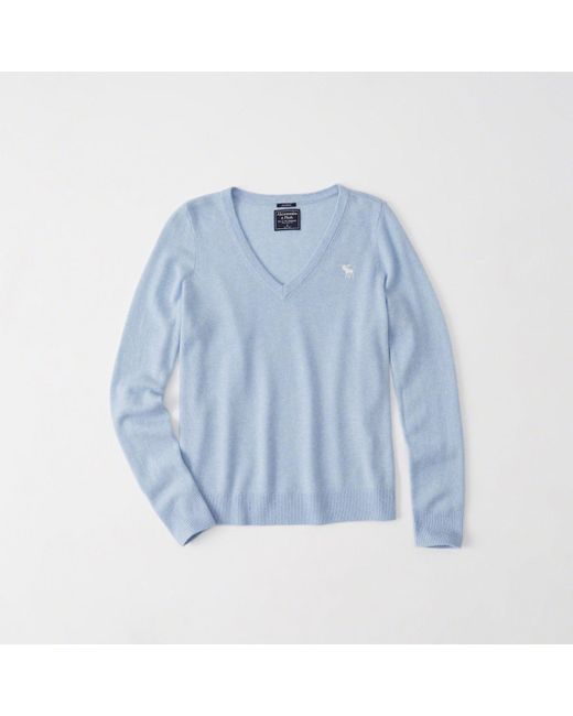 Abercrombie & Fitch - Blue Cashmere V-neck Pullover for Men - Lyst