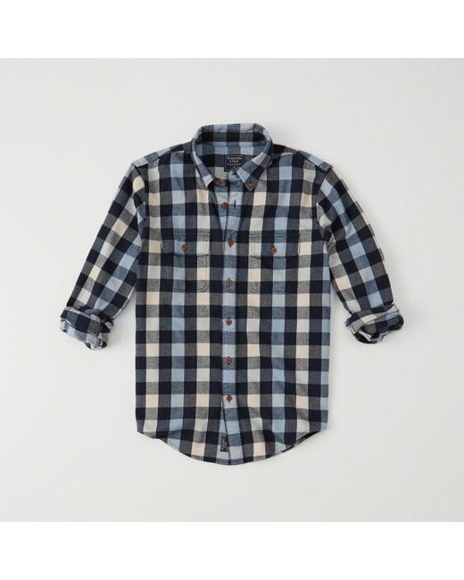 Abercrombie & Fitch - Blue Flannel Shirt for Men - Lyst