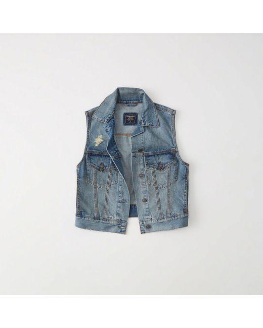 Abercrombie & Fitch - Blue Denim Vest - Lyst