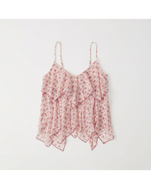 Abercrombie & Fitch - Pink Chiffon Asymmetrical Cami - Lyst