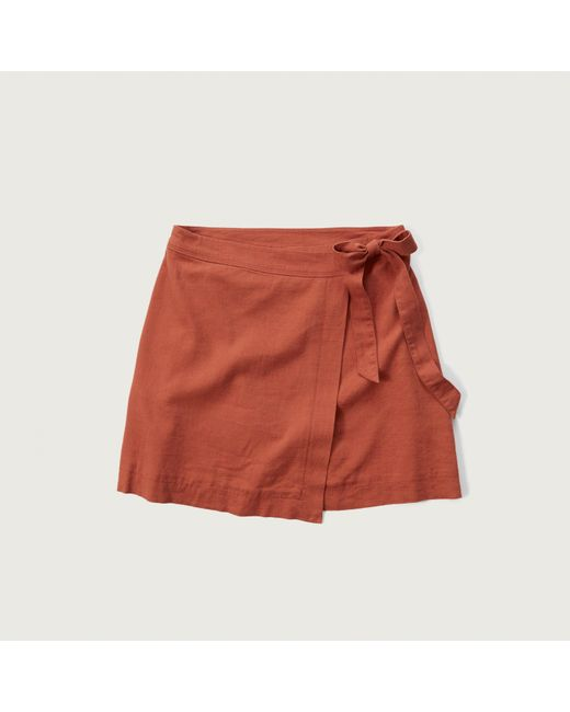 abercrombie fitch a line wrap skirt in orange lyst