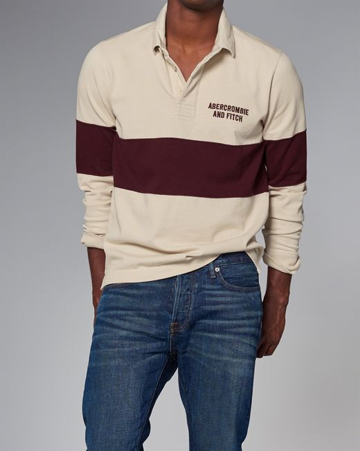 Abercrombie Amp Fitch Long Sleeve Rugby Polo In Natural For