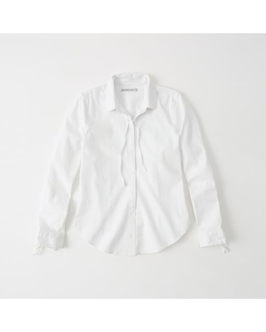 Lyst Abercrombie Fitch Tie Neck Oxford Shirt In White