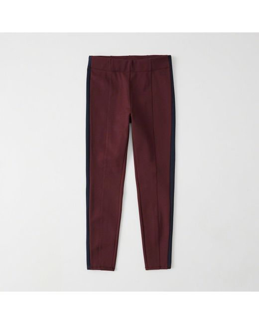 Abercrombie & Fitch - Red Side Stripe Leggings - Lyst
