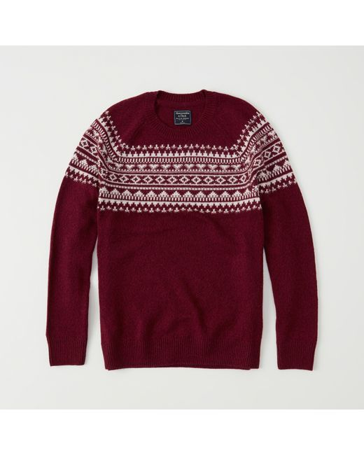 Abercrombie & fitch Fair Isle Sweater Exchange Color / Size in Red ...