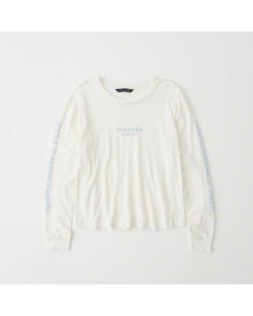 Abercrombie & Fitch - White Long-sleeve Logo Tee - Lyst
