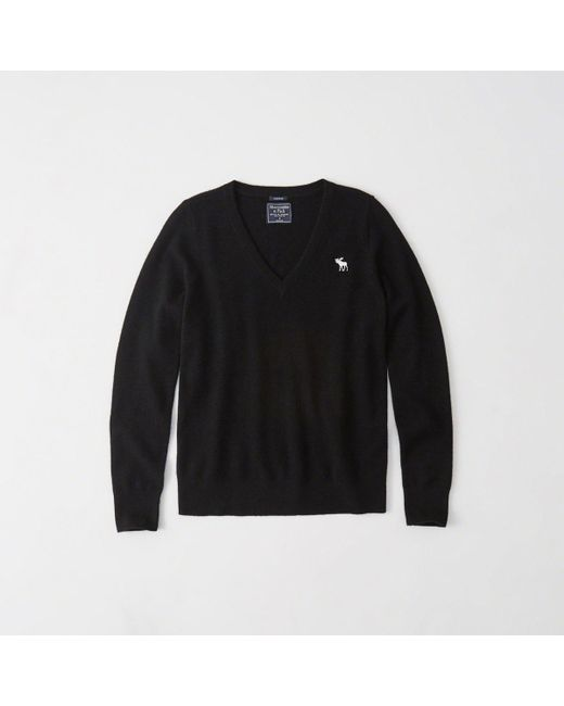 Abercrombie & Fitch - Black Cashmere V-neck Pullover - Lyst