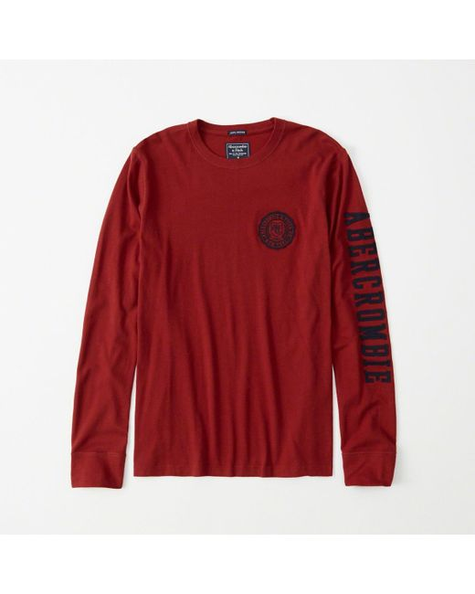 81c63b820fd50 Abercrombie   Fitch - Red A f Long-sleeve Applique Legacy Tee for Men ...