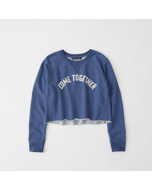 Abercrombie & Fitch - Blue Cropped Crew - Lyst