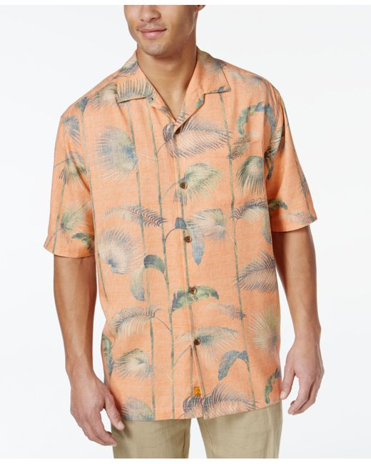 Tommy bahama foster silk frond print short sleeve shirt in for Tommy bahama short sleeve silk camp shirt