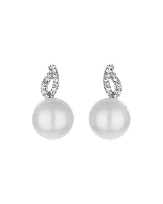 Mikey | White Twist Loop Crystal Pearl Drop Earring | Lyst