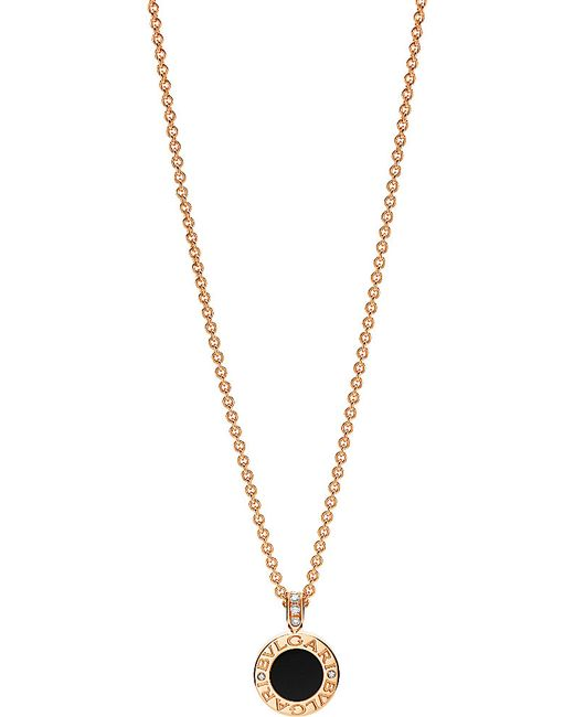 BVLGARI | Black - 18kt Pink-gold Pendant Necklace With Mother-of-pearl, Onyx And Pavé Diamonds | Lyst