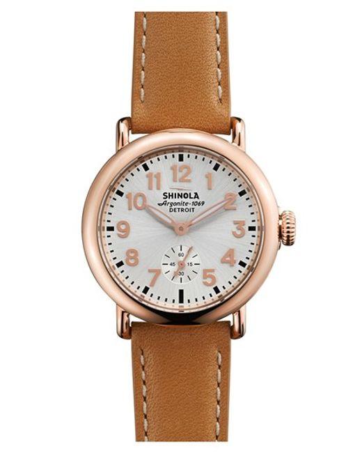Shinola   Pink 'the Runwell' Leather Strap Watch   Lyst