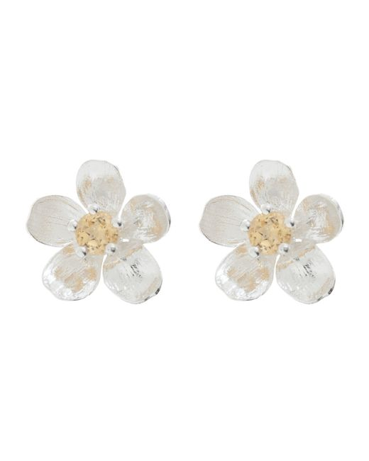 Alex Monroe | Metallic Sterling Silver Citrine Buttercup Stud Earrings | Lyst