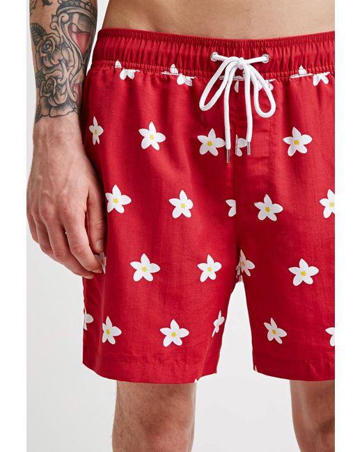 Forever 21   Red Daisy Swim Trunks for Men   Lyst