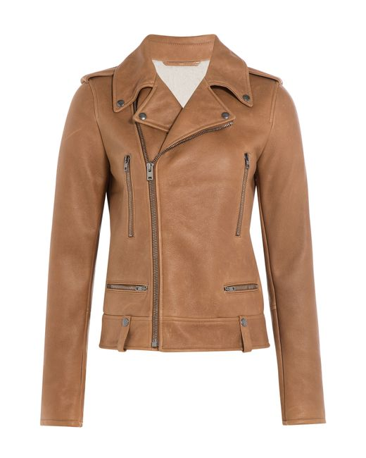 JOSEPH | Brown Leather Biker With Shearling Lining - Camel | Lyst