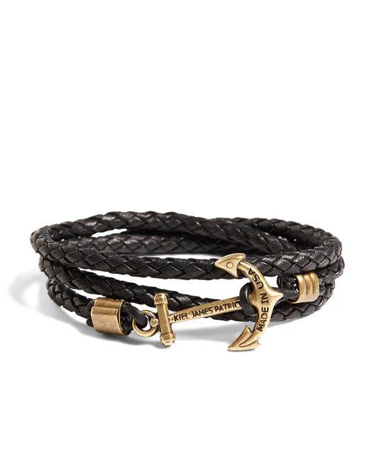 Brooks Brothers | Brown Kiel James Patrick Leather Wrap Bracelet for Men | Lyst