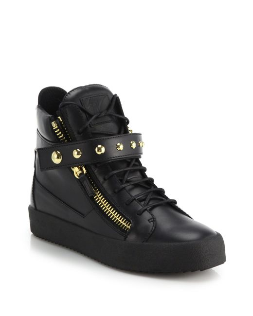 Giuseppe Zanotti | Black Studded-strap Leather High-top Sneakers for Men | Lyst