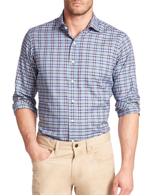 Polo Ralph Lauren | Blue Plaid Half-placket Button-down Shirt for Men | Lyst