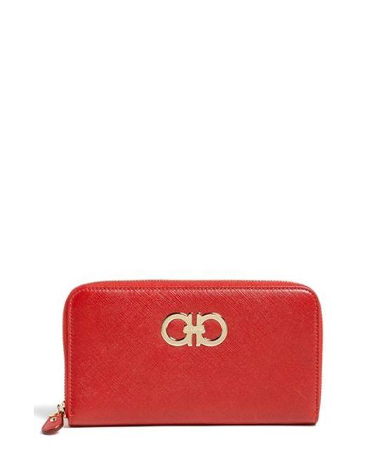 Ferragamo | Red 'gancini' Zip Around Wallet - None | Lyst