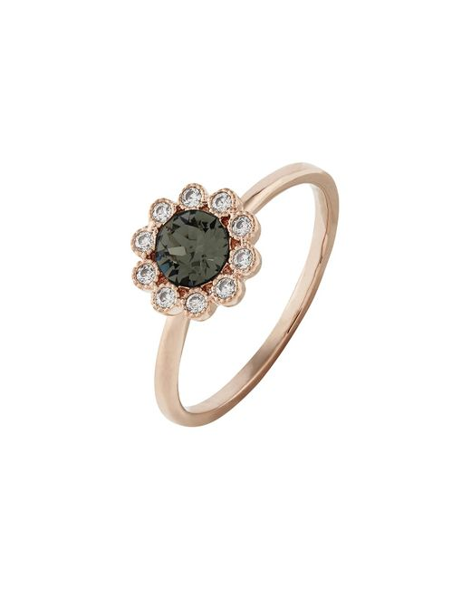 Accessorize - Gray Rose Gold Flower Ring With Swarovski® Crystals - Lyst