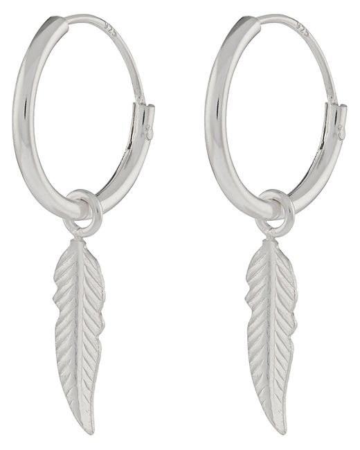 Accessorize - Metallic Sterling Silver Feather Sleeper Hoop Earrings - Lyst