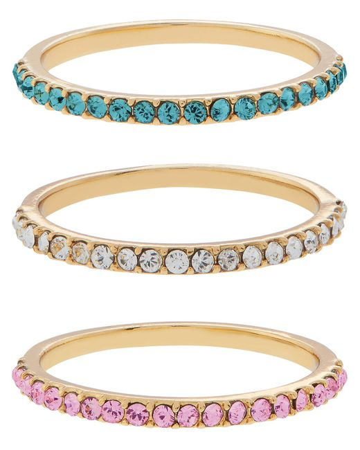Accessorize - Multicolor 3x Band Rings With Swarovski® Crystals - Lyst