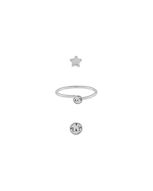 Accessorize - Metallic Sterling Silver 3x Star & Hoop Nose Studs - Lyst